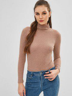 Turtleneck Ribbed Bodysuit - Brown Bear S