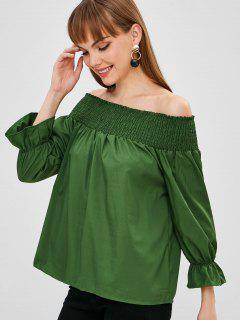 Bow Back Smocked Off The Shoulder Top - Medium Sea Green L