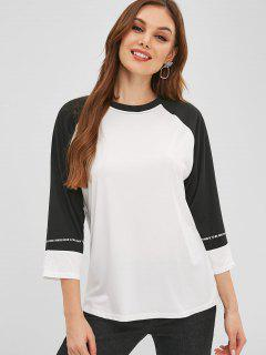 Letter Graphic Baseball T-shirt - White L