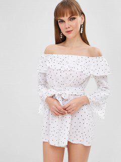 Polka Dot Off Shoulder Belted Romper - White L