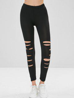 Ripped Skinny Leggings - Black L
