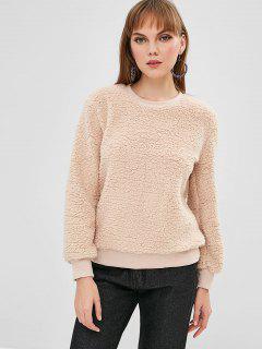 Fluffy Teddy Sweatshirt - Blanched Almond M