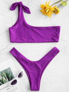 ZAFUL One Shoulder Bralette Bikini Set - Purple Amethyst M