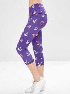 Workout Anchor Print Yoga Capri Leggings - Purple M