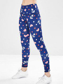 Anchor Hearts Print Gym Leggings - Deep Blue M