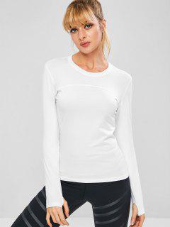 Long Sleeve Perforated Sports Top - White M