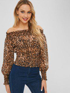 Schulterfreie Bluse Mit Leopardenmuster - Leopard M