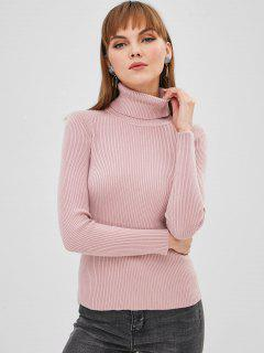 Turtleneck Plain Ribbed Sweater - Lipstick Pink