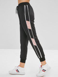 Contrast Drawstring Waist Jogger Pants - Black M