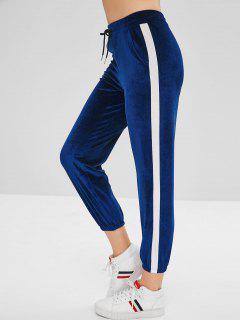 Pantalon En Deux Couleurs En Velours à Cordon - Bleu Myrtille L