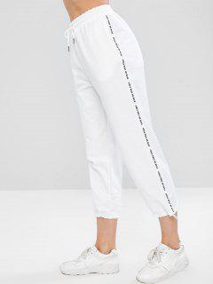 Pantalones De Bolsillo Con Dobladillo Con Cordón - Blanco Xl