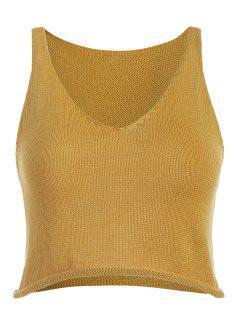 Camiseta Sin Mangas Con Dobladillo Enrollado - Amarilla De Abeja