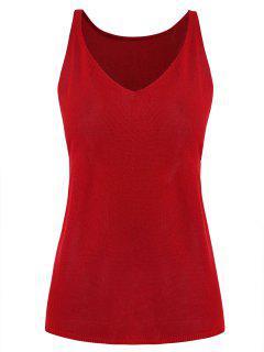 Camiseta Sin Mangas Con Abertura Lateral Con Cuello En V - Rojo Lava