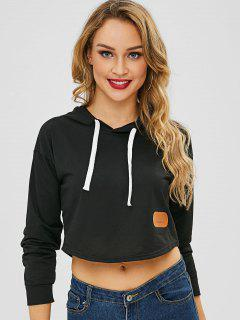 Letter Patched Crop Hoodie - Black M