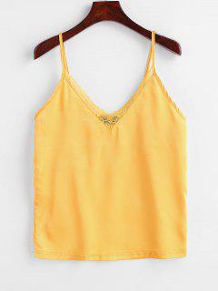 ZAFUL Satin Lace Panel Cami Top - Senf S