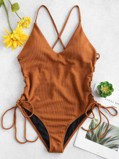 Lace-up Cross High Cut Swimsuit - Brown L