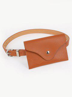 Vintage Faux Leather Fanny Pack Belt Bag - Brown