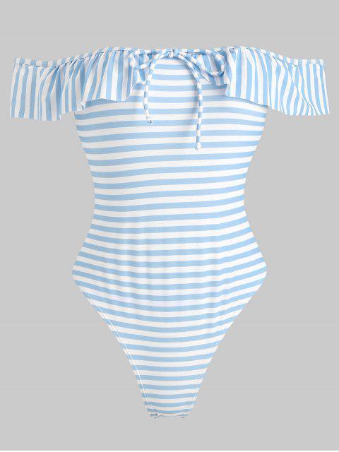 best Striped Ruffle Off Shoulder Swimsuit - LIGHT SKY BLUE L Mobile
