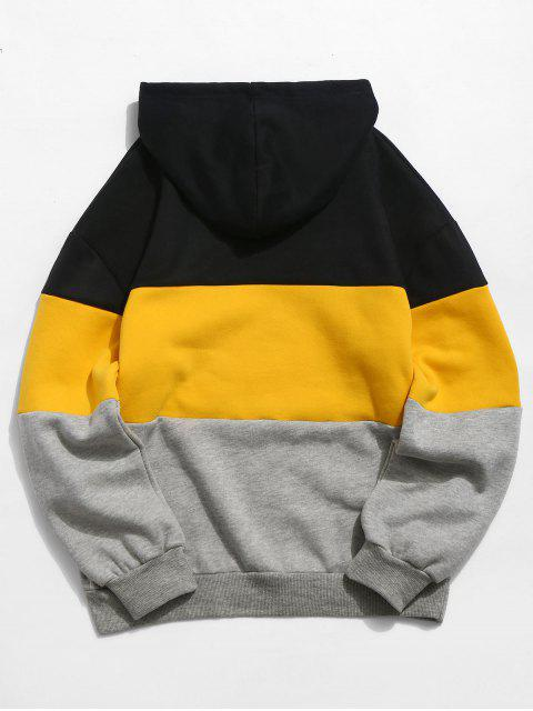outfit ZAFUL Letter Embroidery Colorblock Fleece Hoodie - YELLOW 2XL Mobile