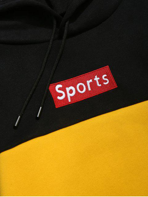 outfits ZAFUL Letter Embroidery Colorblock Fleece Hoodie - YELLOW XL Mobile