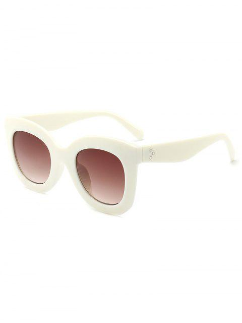 new Plastic Frame Rivets Inlaid Driving Sunglasses - BEIGE  Mobile
