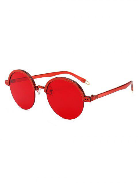 new Stylish Hollow Out Leg Semi-Rimless Sunglasses - RED  Mobile
