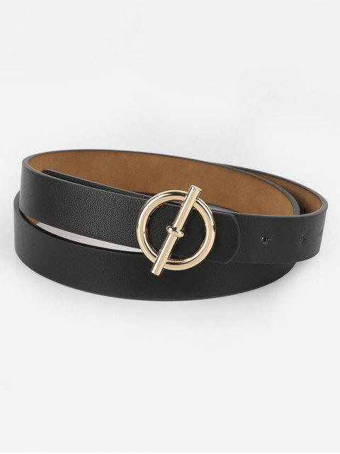 trendy Alloy Round Buckle Faux Leather Waist Belt - BLACK  Mobile