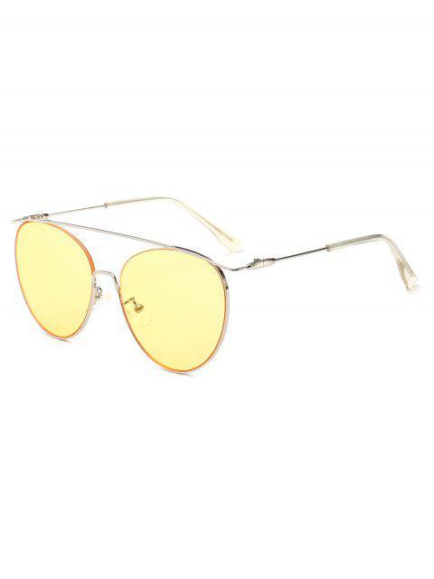 fashion Statement Crossbar Pilot Sunglasses - YELLOW  Mobile