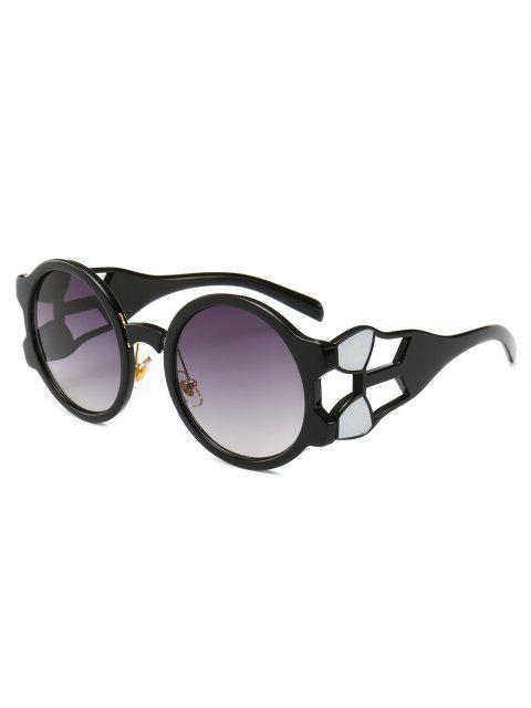outfits Retro Hollow Out Frame Round Sunglasses - GRAY  Mobile