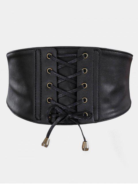 ladies Vintage Drawstring PU Leather High Waist Belt - BLACK  Mobile