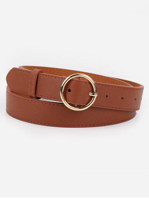 best Alloy Circle Buckle Faux Leather Belt - BROWN  Mobile