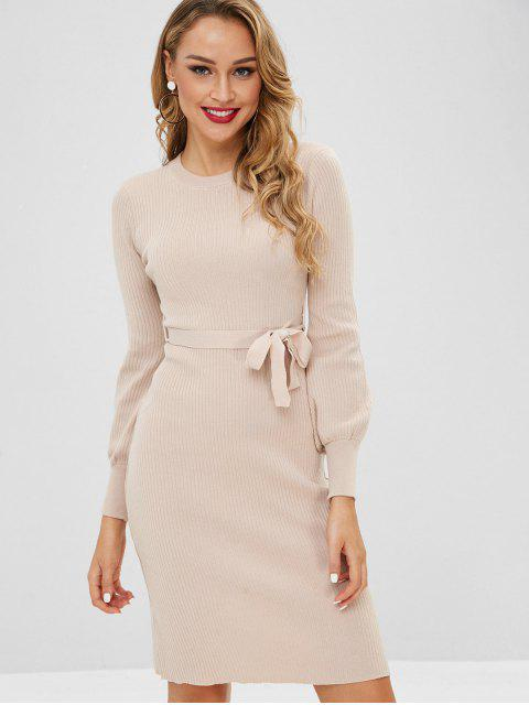 new Lantern Sleeves Belted Sweater Dress - APRICOT ONE SIZE Mobile