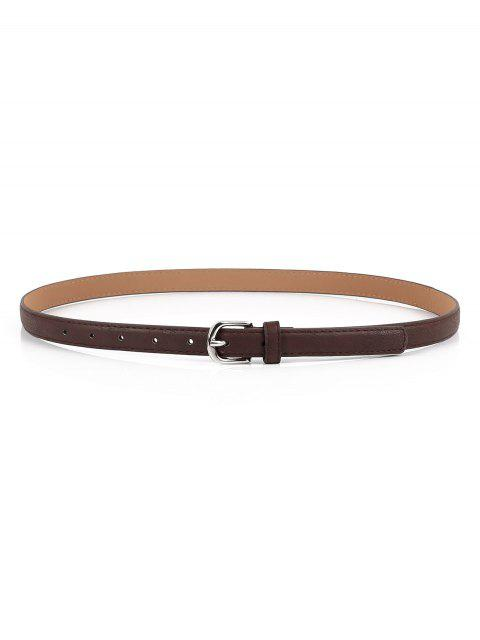 ladies Silver Buckle Faux Leather Waist Belt - COFFEE  Mobile