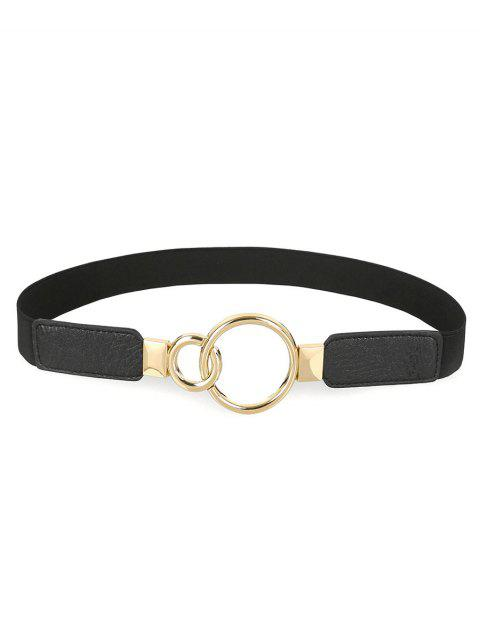 outfit Elegant Hollow Out Buckle Faux Leather Skinny Belt - BLACK  Mobile