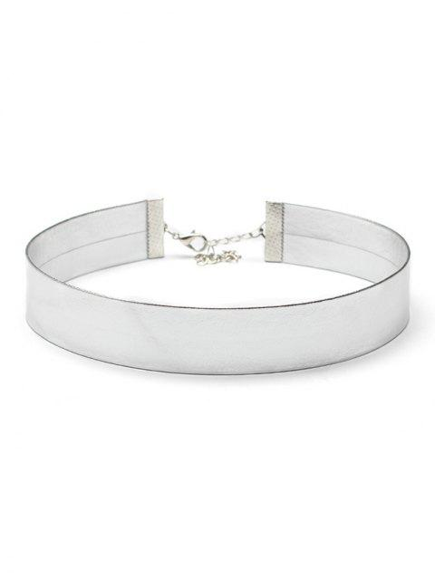 chic Artificial Leather Choker Necklace - SILVER  Mobile