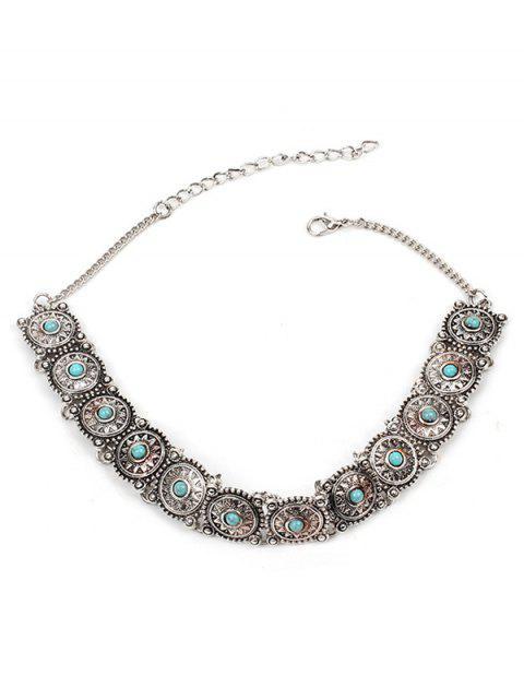 shop Bohemian Metal Engraved Necklace - SILVER  Mobile