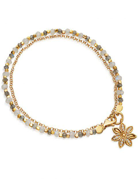 shop Double Layered Beaded Alloy Chain Bracelet - WHITE  Mobile