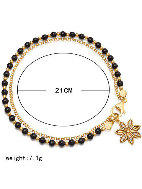 trendy Double Layered Beaded Alloy Chain Bracelet - BLACK  Mobile
