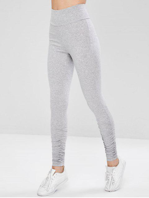 fashion Ruched Active Wide Waistband Gym Leggings - GRAY M Mobile