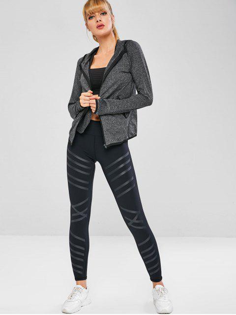 Zip-Taschen mit Kapuze Space Dye-Sportjacke - Grau L Mobile