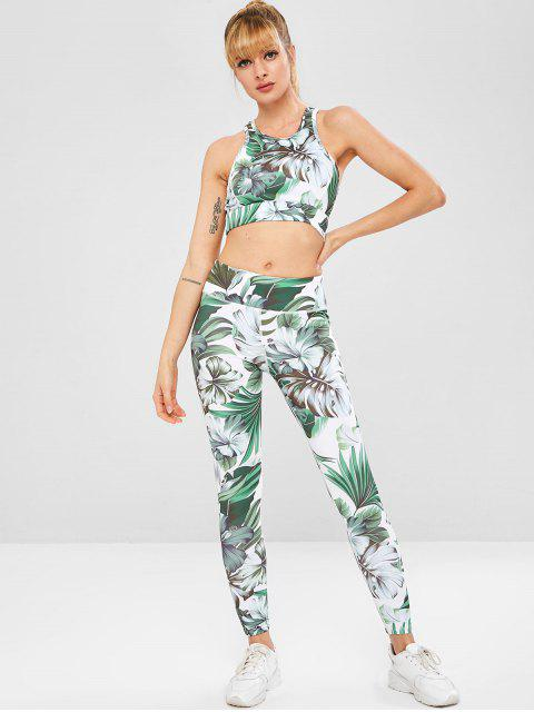 online Tropical Sports Bra and Leggings Sweat Suit - MULTI L Mobile