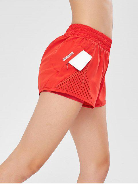hot Hollow Out Overlay Sport Shorts - RED L Mobile