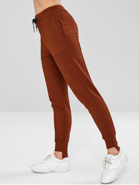 Pantalon Haut Bas à Cordon avec Poche - Brun Sable M Mobile
