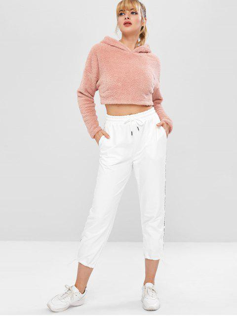 ZAFUL Fluffy Drop Schulter Crop Teddy Hoodie - Rosa S Mobile