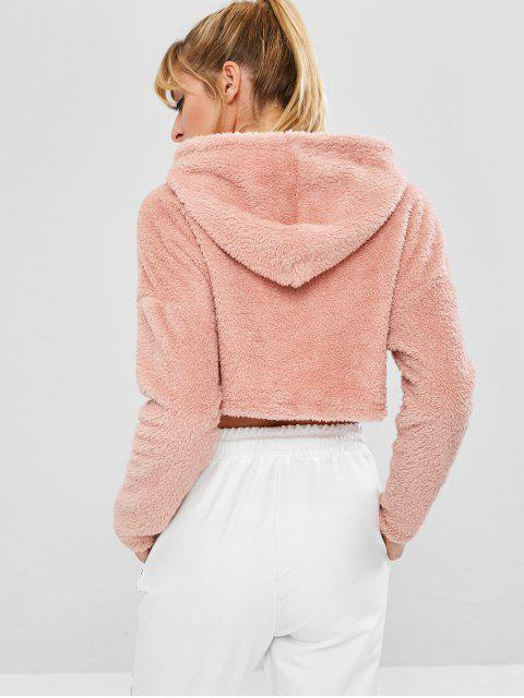ZAFUL Fluffy Drop Schulter Crop Teddy Hoodie - Rosa L Mobile