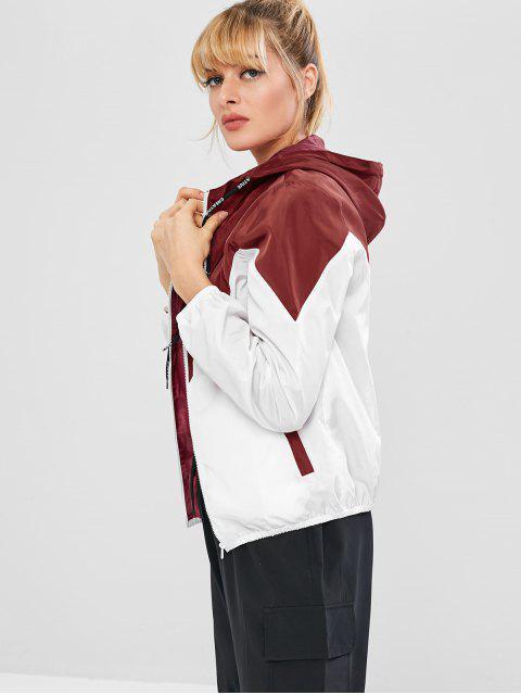 shops ZAFUL Color Block Hooded Windbreaker Jacket - RED WINE S Mobile