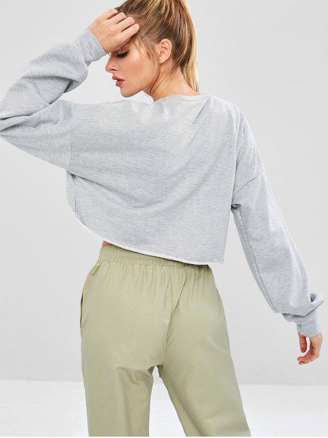 ZAFUL Sweat-shirt Court au Poitrine Ouverte à Ourlet Brut - Gris Clair S Mobile