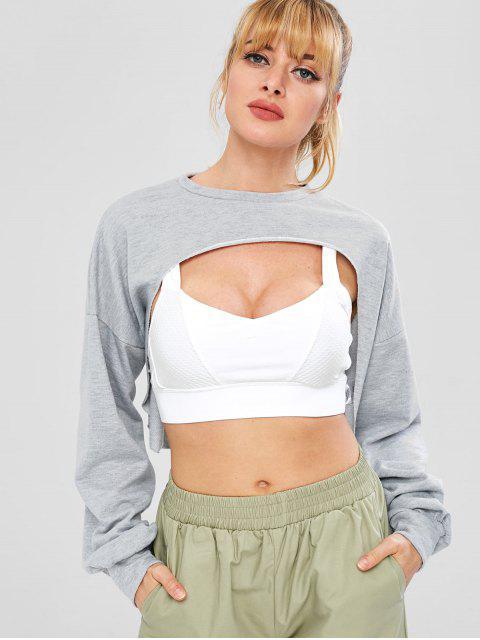 ZAFUL Sweat-shirt Court au Poitrine Ouverte à Ourlet Brut - Gris Clair L Mobile