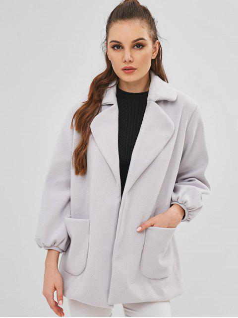 Manteau Ceinturé en Laine Mélangée à Col Revers - Nuage Gris M Mobile