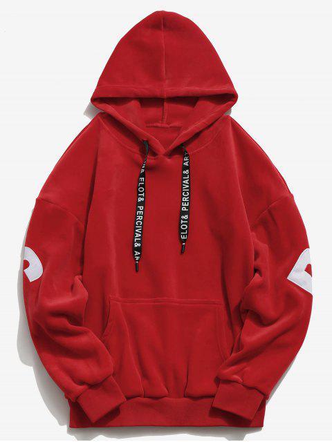 shop Sleeve Letter Pocket Velvet Hoodie - RED L Mobile